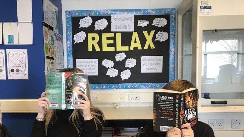 Braes High School pupils reading at school